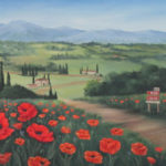 Bev Birdwell Oil Tuscan Landscape with Red Poppies